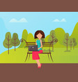 woman using laptop outdoor sitting on bench vector image vector image