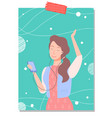 young woman listening music and dancing to music vector image