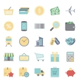 Sales and shopping flat icons set vector image