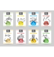 hand drawn sketch fruits banners set vector image