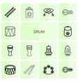 14 drum icons vector image vector image