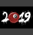 abstract number 2019 and billiard ball from blots vector image vector image