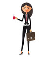 asian black-haired woman with a cup of tea vector image