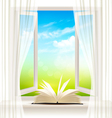 Background with an open window and open book