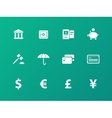 Banking icons on green background vector image