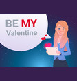 be my valentine invitation greeting card woman vector image