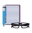 blank notepad with pen and glasses vector image vector image