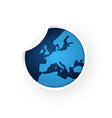 blue europe map icon sticker vector image