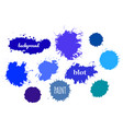 blue paint splash set of brush strokes vector image vector image