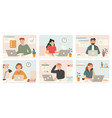 busy workers work with laptop deadline tired vector image