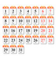 calendar icon set in flat style vector image