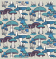 colorful mushrooms seamless pattern vector image