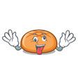 crazy hamburger bun mascot cartoon vector image vector image