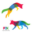 creative fox wolf animal design vector image