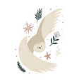 creative poster with a flying owl and forest vector image vector image