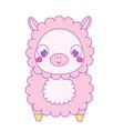 cute lama alpaca kawaii vector image vector image