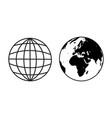 earth globe sample icons vector image vector image