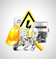 Electricity and energy tools on white background vector image vector image