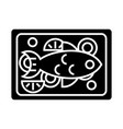 fish fried icon black sign vector image vector image
