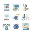 Flat color icons for e-education vector image