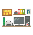 Flat design working desk decor vector image vector image