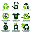 flat icon set for eco friendly recycling vector image vector image