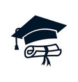 graduation cap and diploma icon simple sign and vector image vector image