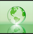 green shining transparent earth globe vector image vector image