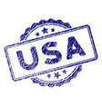 grunge textured usa text stamp seal vector image