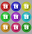 handset icon sign symbol on nine round colourful vector image