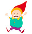 happy gnome or dwarf cartoon vector image vector image