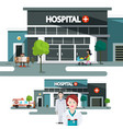 hospital building with doctors vector image vector image