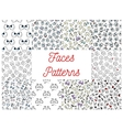 Human cartoon faces patterns vector image vector image