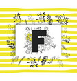 letter f with handmade font and floral decoration vector image vector image