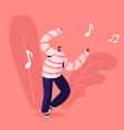 mobile music application concept young man vector image vector image