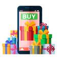 mobile online shopping illyustatsiyasmartfon vector image vector image