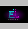 neon lights alphabet fl f l letter logo icon vector image