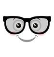 nerd face emoticon kawaii style vector image vector image