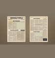 old vintage two pages newspaper layout template vector image vector image