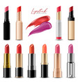 realistic colorful lipstick collection set vector image vector image