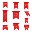 red hanging curved ribbon banners set for merry vector image vector image