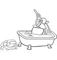 santa taking bath coloring page vector image