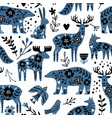 scandinavian animals seamless pattern vector image vector image