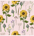 seamless pattern with sunflowers artichokes vector image