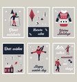 set of cards with characters doing winter sport vector image