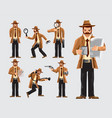 set of cartoon detective in action vector image