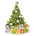 snowy christmas tree vector image vector image