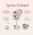 spritz recipe hand drawn summer cocktail drink vector image vector image