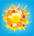 sunburst banner with flowers vector image vector image