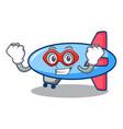 super hero zeppelin character cartoon style vector image